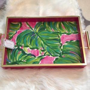 "Lilly Pulitzer NWT Hostess Tray ""Painted Palms"""